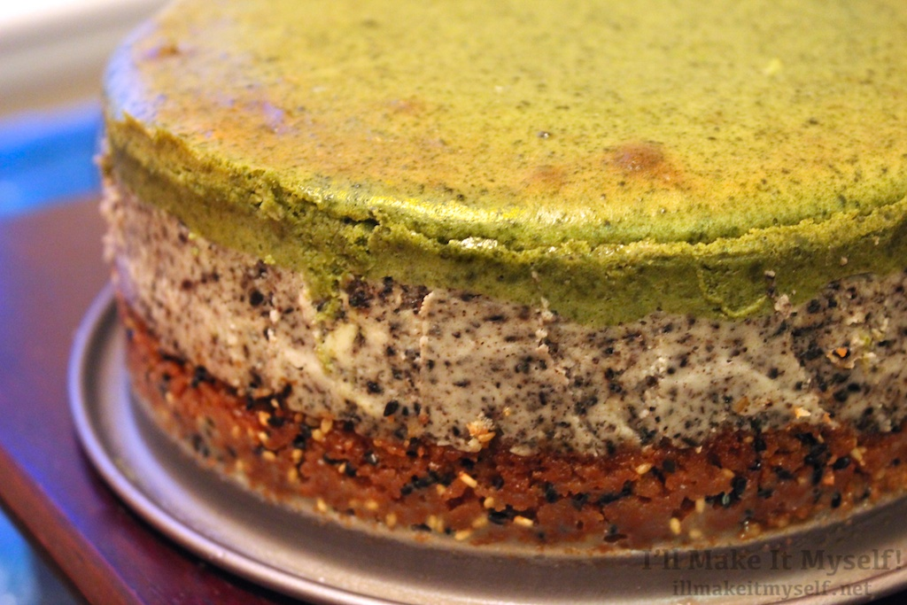Japanese Layered Cake Recipe: Matcha-Black Sesame Layered Cheesecake