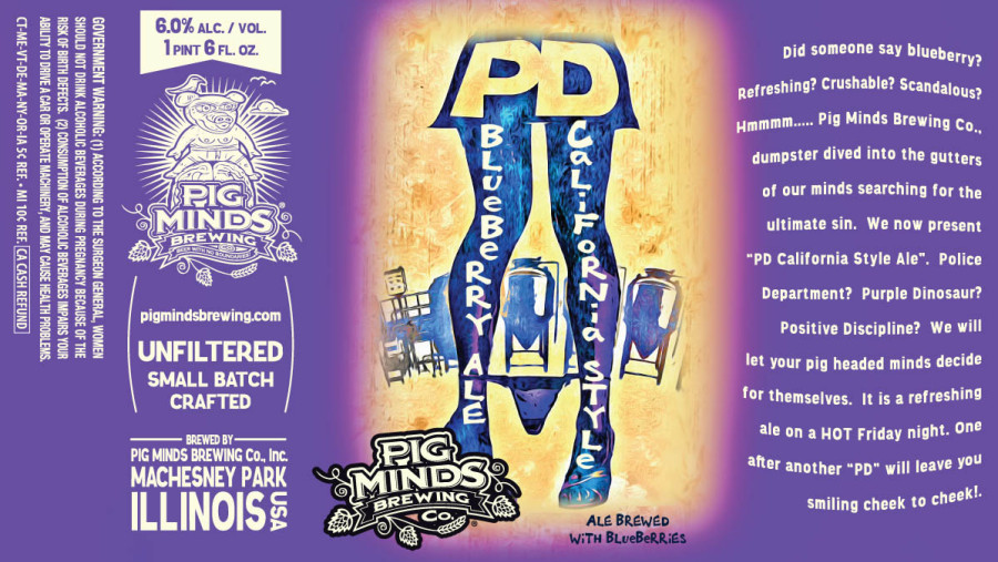 "OH WOW SUCH CLEVER  Image: the lower half of a woman wearing a skirt. Her feet are turned in to produce a canting stance and a pair of panties is around her ankles. The text on her skirt reads ""PD Blueberry Ale California Style."" Image by Pig Minds."