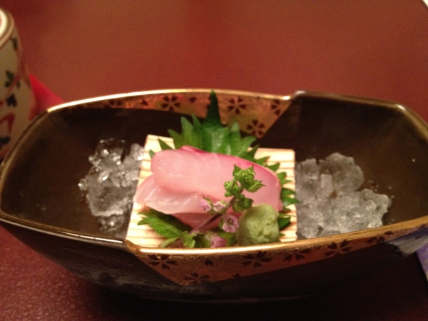 A slightly blurry photo of sashimi from a dinner at the Nikko Hotel in Kanazawa.