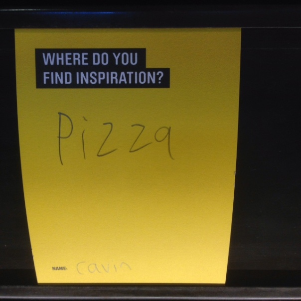 """[Image of sticky note with the question """"Where Do You Find Inspiration?"""" and a child's handwritten answer: """"pizza"""") Meanwhile at the MOHAI"""