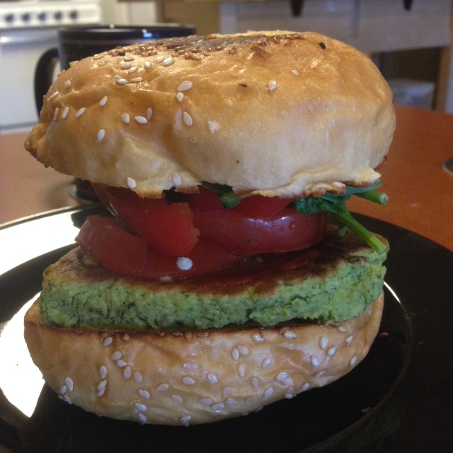 [Image of a green veggie burger.] Cilantro!