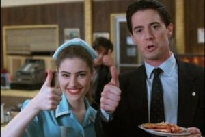 [Image: Shelly Johnson and actual puddin pop Agent Cooper give the thumbs-up for pie in Twin Peaks] Source: abc.net.au