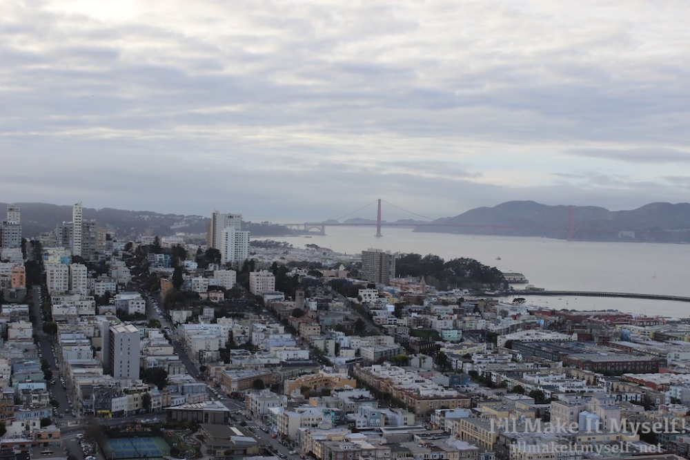 Image: view of the Golden Gate Bridge and San Francisco from Coit Tower