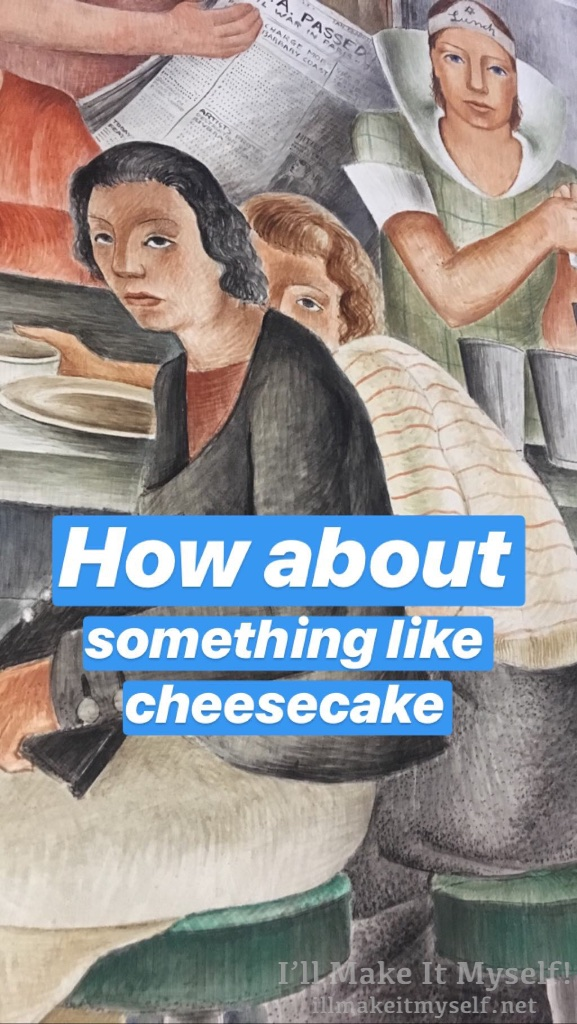 "Image: a fresco of two people sitting at a diner counter. The person in the background is almost hiding behind the person in the counter seat in front and is peering over their shoulder. I added the text ""how about something like cheesecake"""" to the image. ""Department Store"" fres by Frede Vidar."