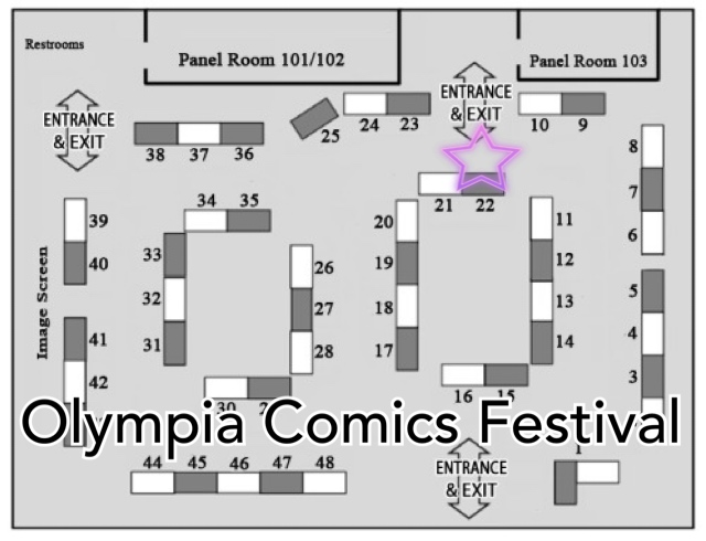 Image of Olympia Comics Festival. Table 22 is near the Entrance/Exit near Panel Room 101/102 and Panel Room 103.