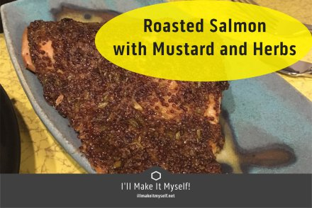 Image of postcard: picture of roasted salmon with Mustard and Herbs