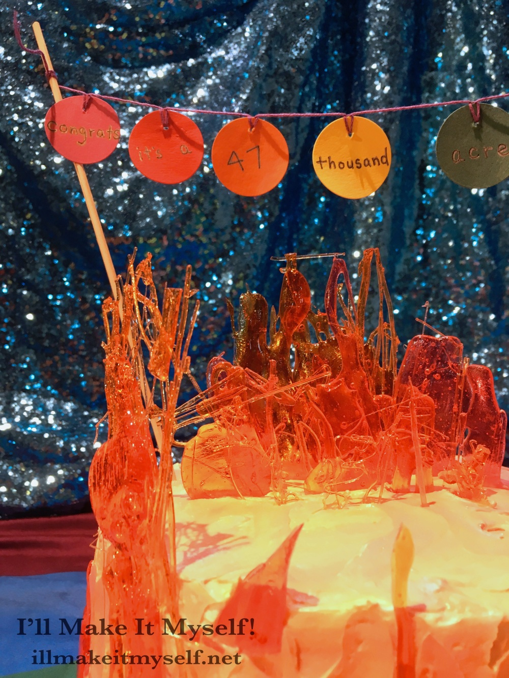 Close up of the candy work on the 47,000 Acre Wildfire Cake.