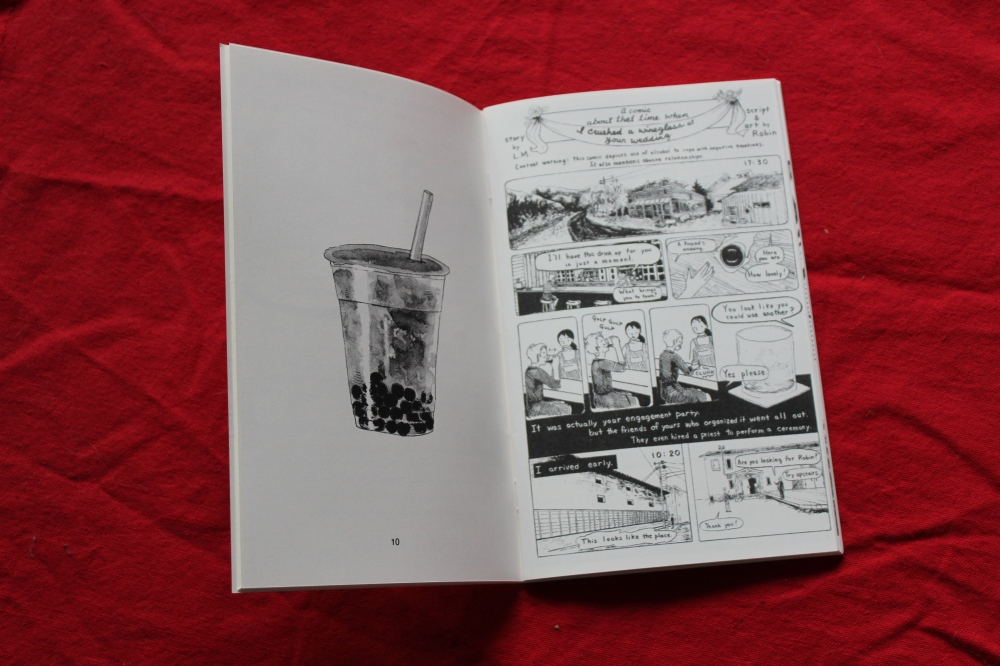 "Preview of the inside of The Corners of Their Mouth 2. The left side is a black and white illustration of bubble tea, and the right side is a multi-panel comic by Robin Elan called ""A comic about the time when I crushed a wine glass at your wedding."""