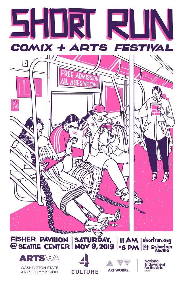Short Run poster. Black, white and pink illustration of people reading on the light rail.