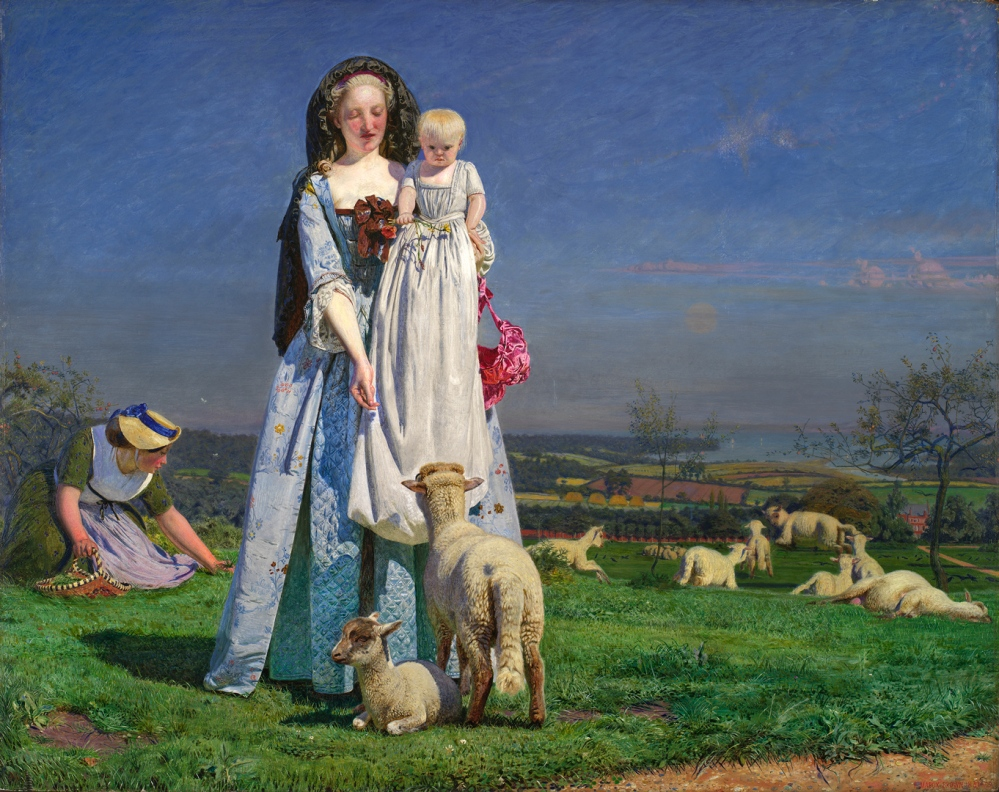 A light-skinned woman in a blue robe a la Anglaise with ribbons in front shows a baby in a long gown a sheep. They are in a meadow with sheep and another woman in a green dress and straw hat is gathering