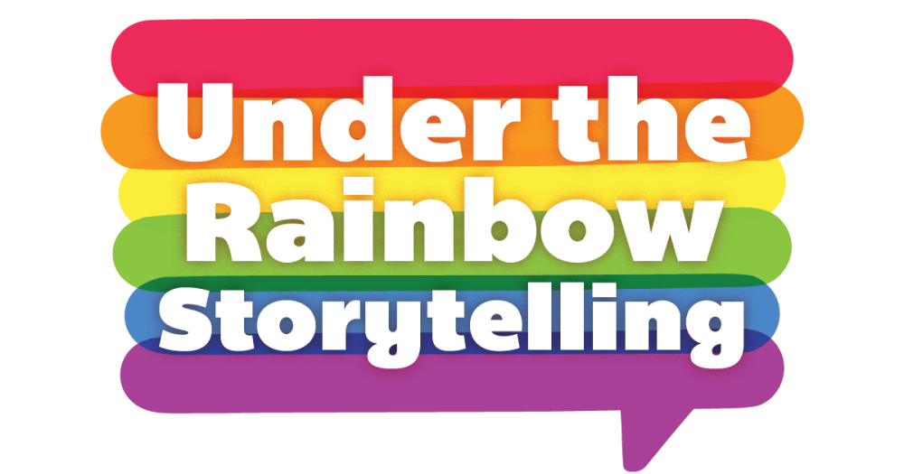 "Under the Rainbow Storytelling logo: a rainbow-striped word bubble with the text ""Under the Rainbow Storytelling"""" in white."