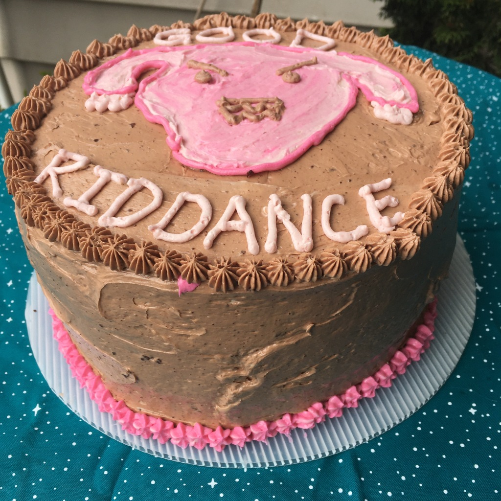 """Side angle photo of a chocolate layer cake. The frosting is chocolate. There is a design of an angry cartoon uterus in pink raspberry frosting on the today, and """"Good Riddance"""" is piped on in pink frosting. The bottom has pink stars piped on."""